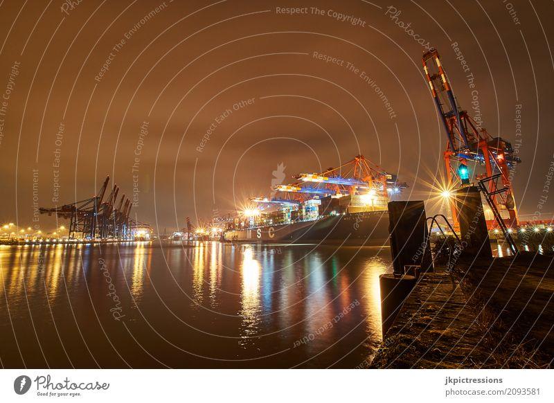 Containerhafen Terminal Hamburg am Abend Wasser Nachthimmel Hafenstadt Verkehr Güterverkehr & Logistik Schifffahrt Containerschiff Arbeit & Erwerbstätigkeit