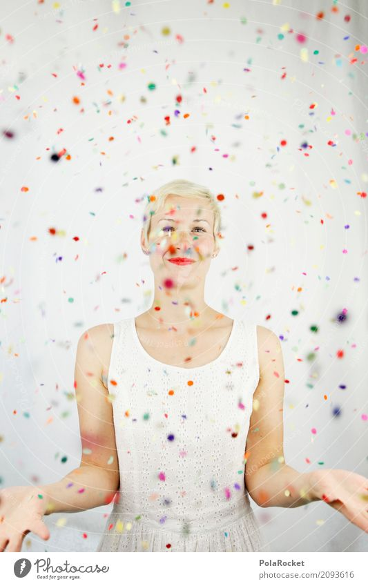 #A# Bunderkunt Kunst Kunstwerk ästhetisch Freude spaßig Spaßvogel Spaßgesellschaft Konfetti viele mehrfarbig Kreativität Kleid kleidsam klein blond Frau