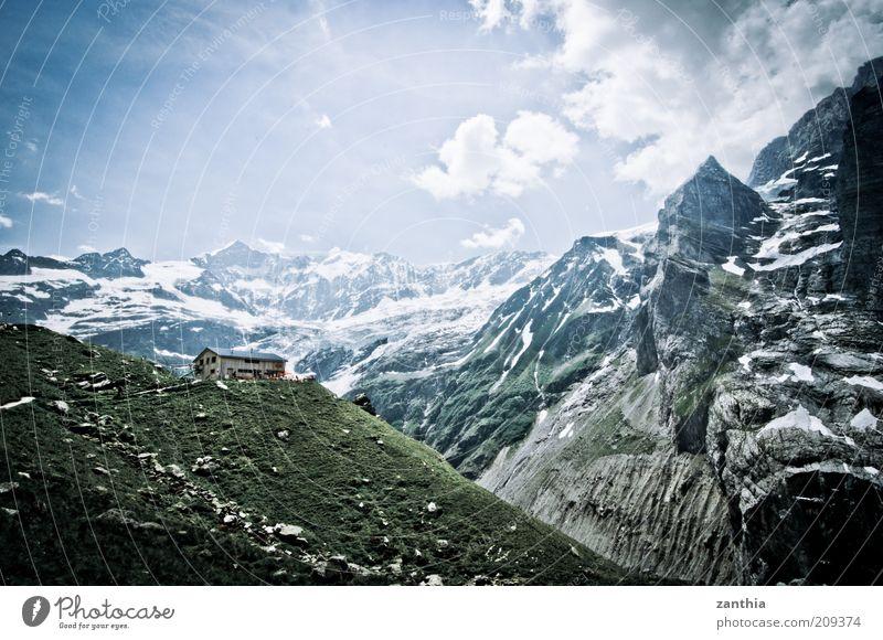 Bäregg Natur Sommer Ferien & Urlaub & Reisen Wolken Einsamkeit Berge u. Gebirge Landschaft Wetter Umwelt Tourismus Klima Schweiz Alpen Gipfel Hütte Gletscher
