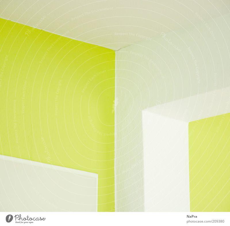 Um's Eck weiß grün Farbe Wand Stil oben Mauer Linie Raum Architektur Wohnung Tür Design leer frisch