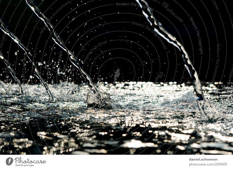 spritzig Wasser Wassertropfen schwarz silber weiß ästhetisch Bewegung bizarr Brunnen Flüssigkeit abstrakt Schatten Kontrast Reflexion & Spiegelung