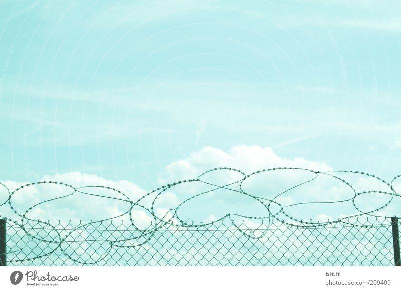 HERZlichst Willkommen Umwelt Himmel Wolken Wetter bedrohlich stachelig Verzweiflung Sicherheit stagnierend Stimmung Stacheldraht Stacheldrahtzaun Zaun
