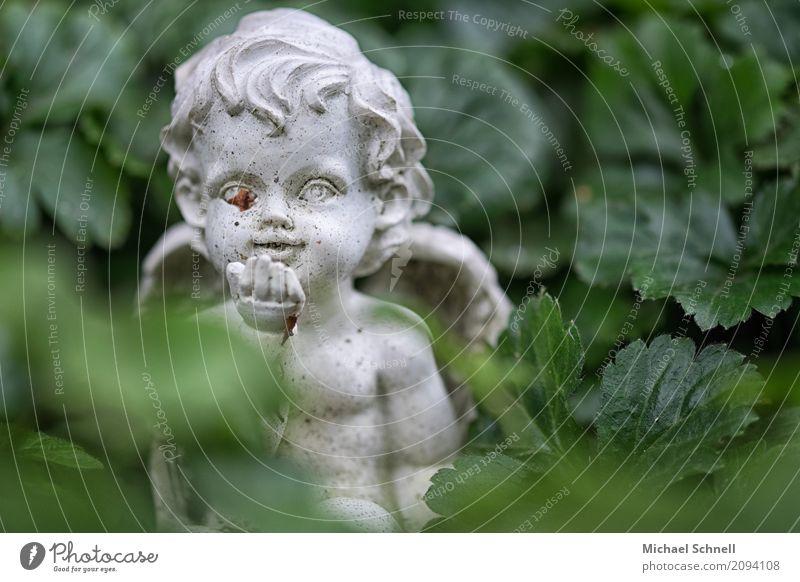 Friedhofsengelchen Skulptur Kultur Fröhlichkeit niedlich grau grün Romantik friedlich Güte trösten Glaube demütig Aufmunterung Tod Engel Lächeln Farbfoto