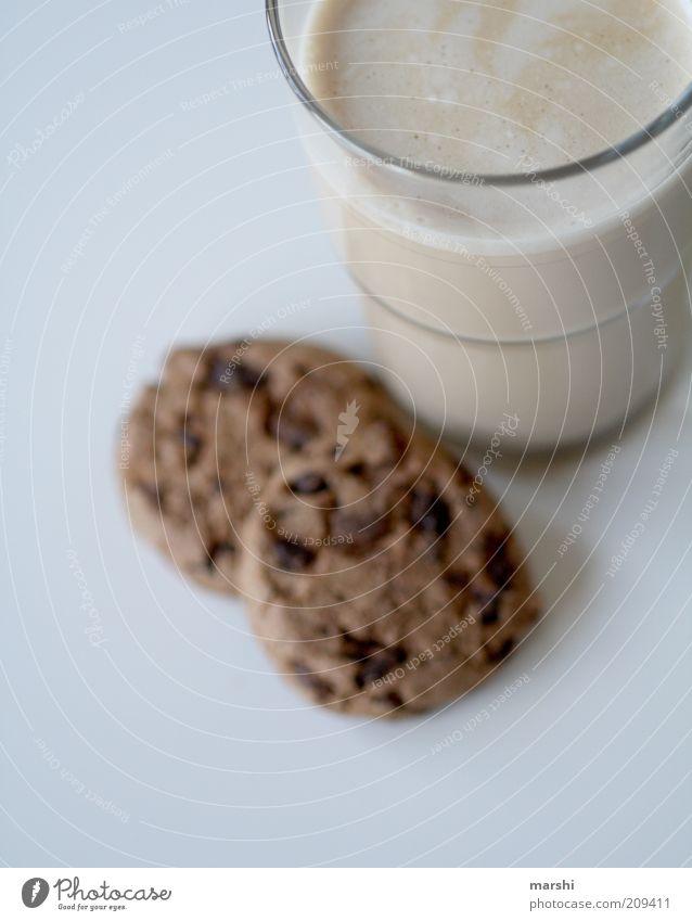 Käffsche Lebensmittel Dessert Ernährung Getränk trinken Heißgetränk braun lecker Milchkaffee Latte Macchiato Keks Vogelperspektive Snack Glas Farbfoto