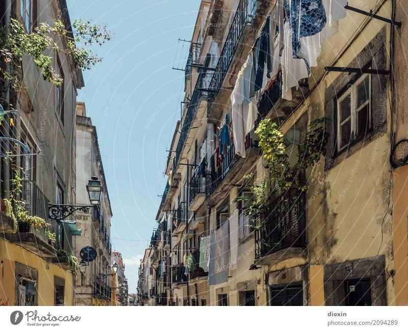 Lisboa Ferien & Urlaub & Reisen Sommer Stadt Haus Ferne Fenster Straße Leben Wand Gebäude Mauer Tourismus Häusliches Leben Europa authentisch Sommerurlaub