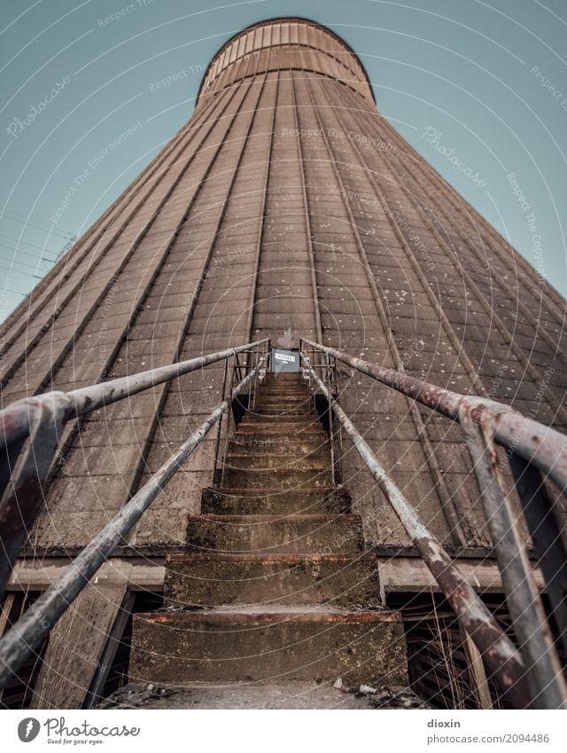 outside the cooling tower [1] Energiewirtschaft Kernkraftwerk Kohlekraftwerk Turm Bauwerk Architektur Kühlturm Treppe alt gigantisch hoch Stadt Verfall