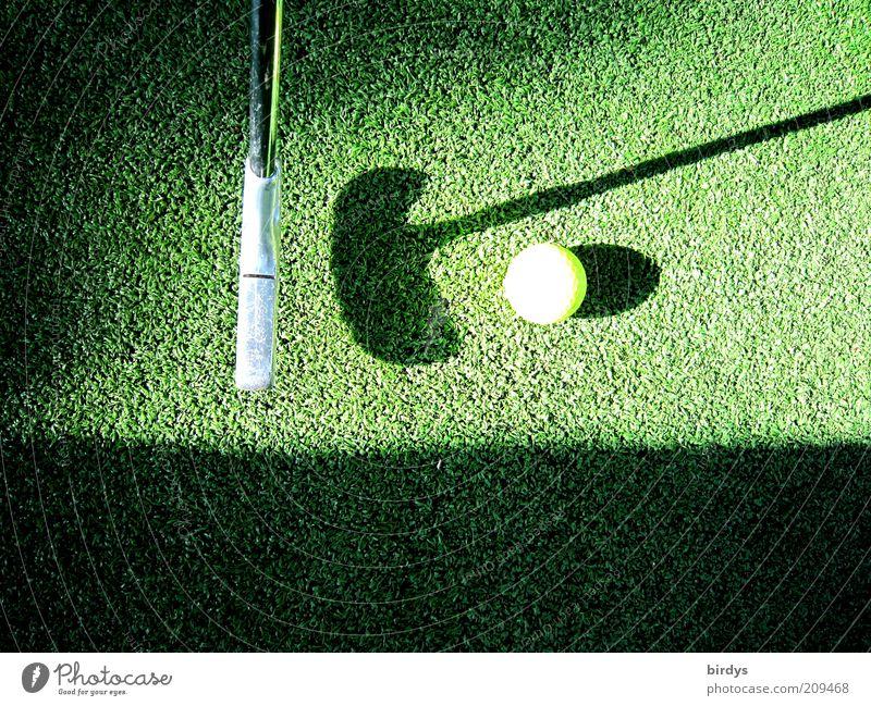 Golf grün gelb Sport Spielen Freizeit & Hobby Sportrasen Konzentration Golfplatz Golfschläger Schattenspiel Golfball Abschlag Minigolf