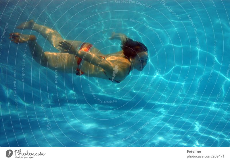 Schwimmen, schwimmen, schwimmen... Frau Mensch Jugendliche blau feminin Körper Haut Erwachsene nass Schwimmbad dünn tauchen Schwimmen & Baden Schweben