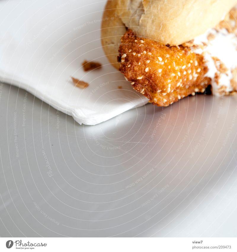 Fischbrötchen Ernährung klein Lebensmittel Fisch authentisch einfach natürlich lecker Mittagessen Brötchen Textfreiraum links Fischgericht Fastfood Snack Backwaren Serviette
