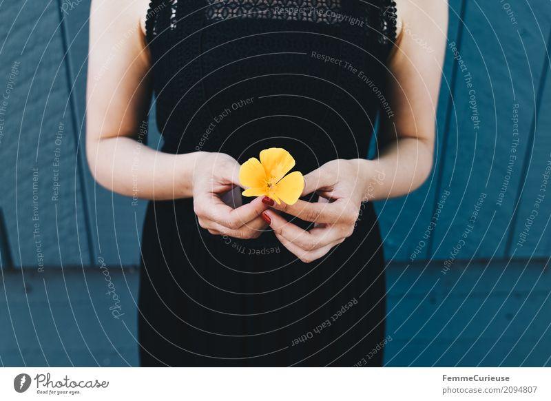 Roadtrip West Coast USA (96) Lifestyle feminin Junge Frau Jugendliche Erwachsene 1 Mensch 18-30 Jahre 30-45 Jahre schön Natur Naturliebe Blüte gelb Blume Kleid