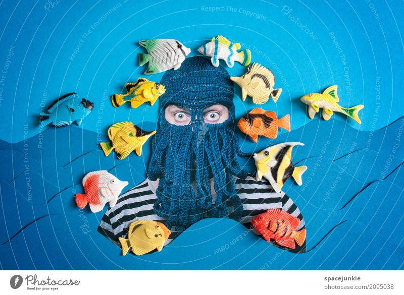 Tiefseetaucher Mensch maskulin Junger Mann Jugendliche Erwachsene 1 30-45 Jahre Kunst Gemälde Wasser Himmel Meer See Tier Fisch Schwarm Schwimmen & Baden