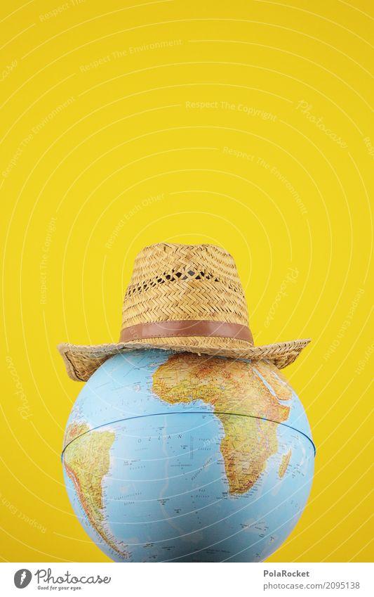 #AS# Indiana Kunst Kunstwerk ästhetisch Hut Hutablage Erde Globus gelb Weltkarte Weltreise weltoffen Abenteuer Filmmaterial Andeutung Symbole & Metaphern