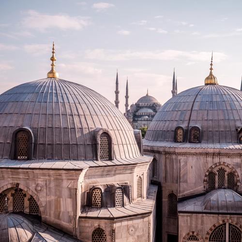 major Istanbul Türkei Europa Stadt Bauwerk Gebäude Architektur Fassade Kuppeldach Moschee Hagia Sophia Blaue Moschee Sehenswürdigkeit Wahrzeichen Denkmal gold
