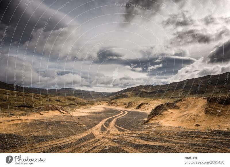 icelandic trails Natur Landschaft Sand Luft Himmel Wolken Horizont Wetter Schönes Wetter Wind Gras Hügel Felsen Flussufer Verkehrswege Wege & Pfade einzigartig