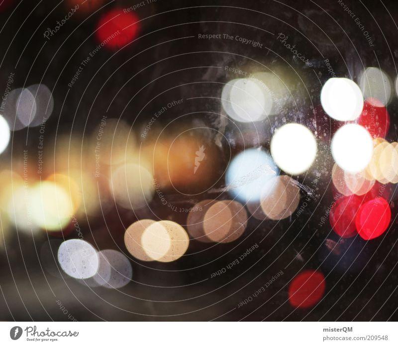From A Cafe In New York. schön Regen glänzend Verkehr ästhetisch einfach Punkt leuchten erleuchten abstrakt Autofenster Lichtspiel Nacht unterwegs Lichtbrechung