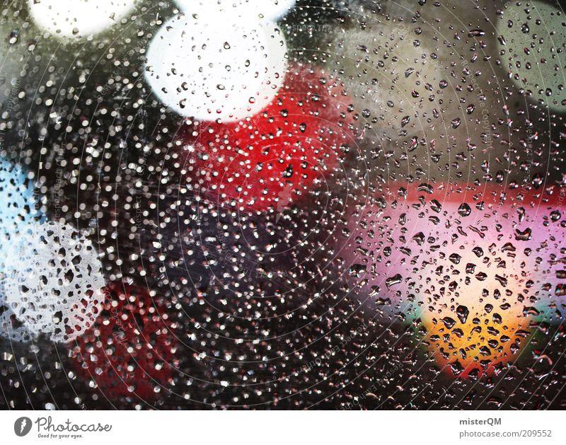 I love Friday's. ästhetisch Regen Scheibe nass Unschärfe Licht Lichtermeer fluoreszierend Lichtpunkt Punkt Nachtaufnahme Wassertropfen Wetter Farbfoto