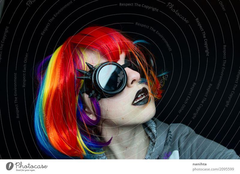 Punk Frau mit Steampunk-Brille exotisch Lippenstift Mensch feminin Junge Frau Jugendliche 1 18-30 Jahre Erwachsene Kunst Künstler Kultur Jugendkultur Subkultur