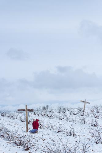Junge Frau, die in einem Friedhof am Winter betet Mensch feminin Jugendliche 1 18-30 Jahre Erwachsene Natur Landschaft Himmel Wolken Horizont Klima Wetter
