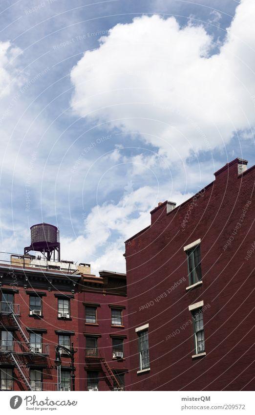 red meets blue. Himmel blau rot Sommer Haus Wolken Fenster Gebäude Architektur Fassade ästhetisch USA Fabrik Backstein Bauwerk