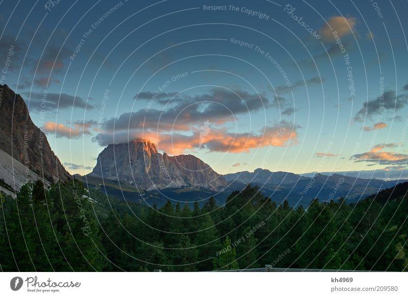Langkofel am Abend Himmel Natur blau Wolken Ferne Wald Erholung Berge u. Gebirge Landschaft Felsen ästhetisch natürlich Alpen Gipfel Aussicht Tanne