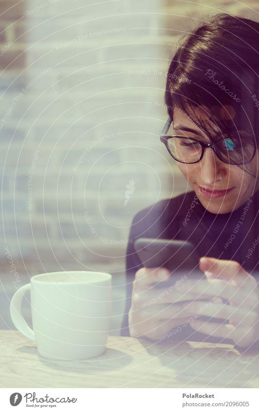 #A# KaffeeChat Frau Hand Erholung Kunst ästhetisch Tisch Internet Handy Café Computernetzwerk Tasse Kunstwerk Kaffeetrinken Kaffeetasse Großstadt