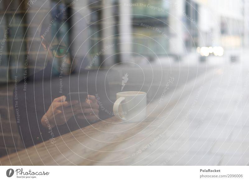 #A# Milchglas Mensch Frau Stadt Erholung Fenster Stadtleben ästhetisch Glas Tisch Pause Kaffee Internet Handy Computernetzwerk Kaffeetrinken Kaffeetasse