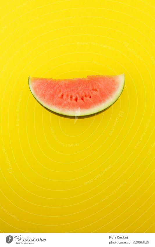 #AS# Melone rot auf gelb Lebensmittel Frucht ästhetisch Melonen Obstladen grell Scheibe Teile u. Stücke Stückmenge lecker Gesunde Ernährung Farbfoto mehrfarbig