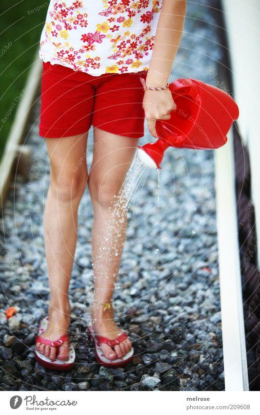 uiiiiiii fein kühl ... Wohlgefühl Kinderspiel Sommer Mädchen Hand Beine 1 Mensch Flipflops Gießkanne Wasser genießen Spielen rot Erfahrung Gefühle Kindheit
