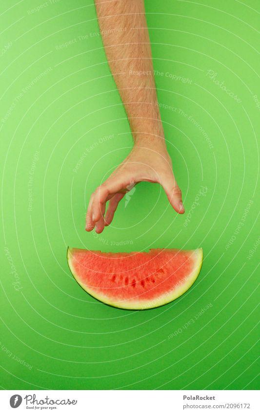 #AS# Kreativ-Pause Kunst ästhetisch Melone Melonen Melonenschiffchen grün rot Teile u. Stücke Frucht Obstladen lecker Gesunde Ernährung Farbfoto mehrfarbig