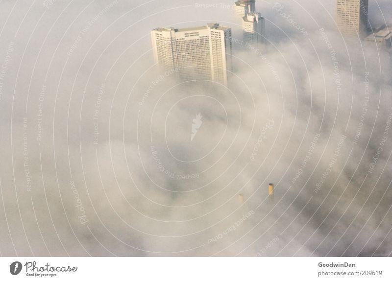 Analoge Weitsicht Stadt ruhig Haus Gebäude Stimmung Architektur Nebel groß hoch authentisch bedrohlich außergewöhnlich Rauch Dunst Klimawandel