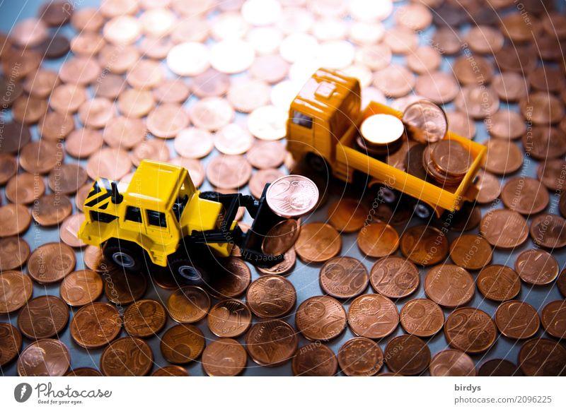 Überschuß Geld Baustelle Kapitalwirtschaft Geldinstitut Lastwagen Radlader Baggerschaufel Geldmünzen Metall Ziffern & Zahlen Arbeit & Erwerbstätigkeit sparen