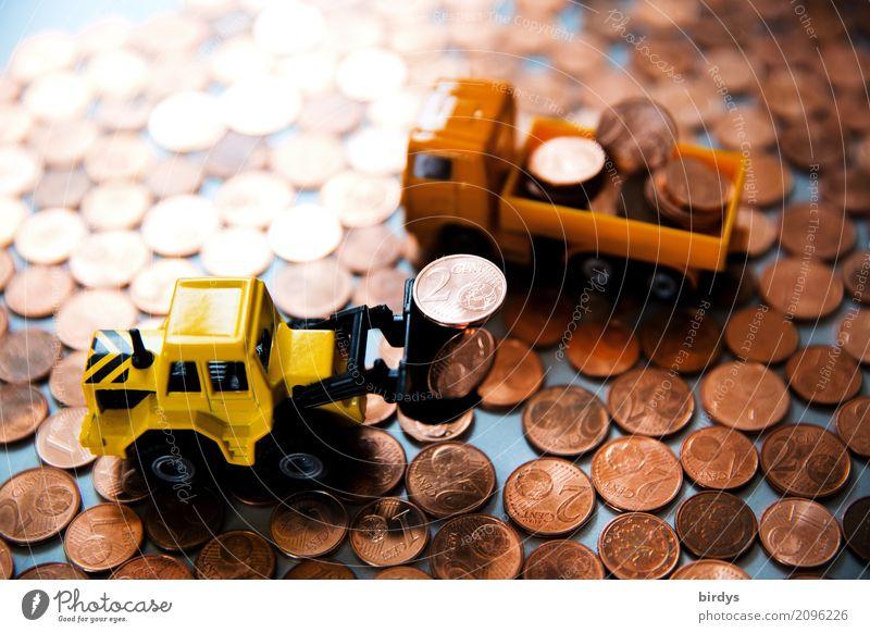1-und 2 Centmünzen verladen Geld Handel Baustelle Kapitalwirtschaft Geldinstitut Lastwagen Radlader Spielzeug Ziffern & Zahlen Arbeit & Erwerbstätigkeit gelb