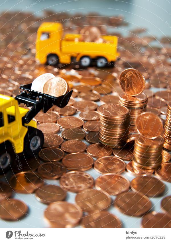 zu teuer Geld Handel Baustelle Kapitalwirtschaft Geldinstitut Lastwagen Radlader Baggerschaufel Spielzeug Metall Ziffern & Zahlen Arbeit & Erwerbstätigkeit