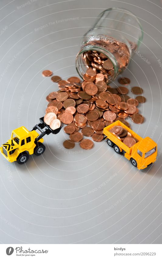 überflüssig Geld sparen Handel Kapitalwirtschaft Geldinstitut Lastwagen Radlader Baggerschaufel Metall Ziffern & Zahlen Arbeit & Erwerbstätigkeit nachhaltig