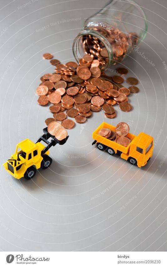 1-und 2 Centmünzen abschaffen Geld Handel Baustelle Kapitalwirtschaft Geldinstitut Lastwagen Radlader Spielzeugauto Geldmünzen Arbeit & Erwerbstätigkeit gelb