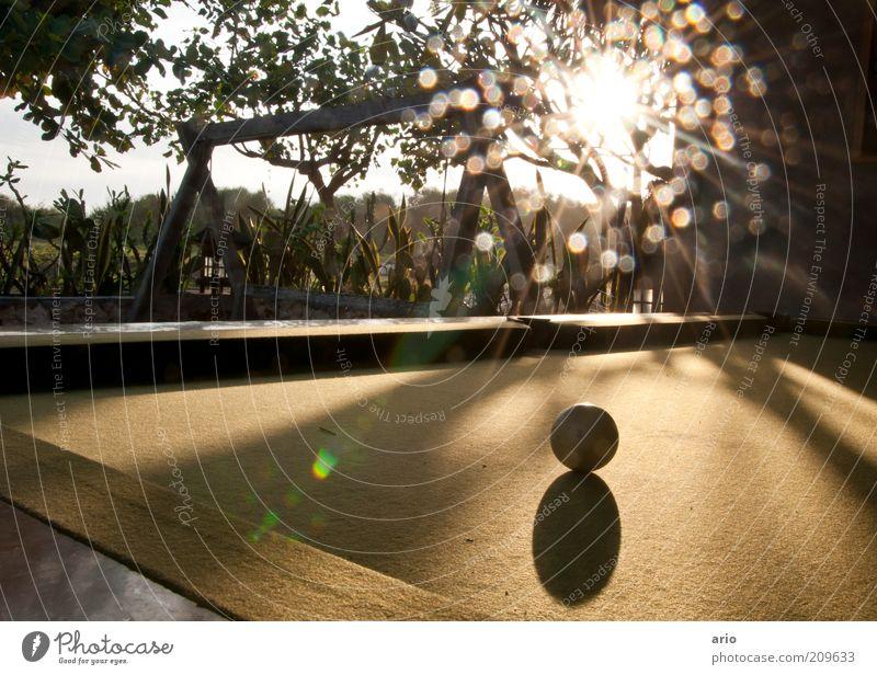 Pünktchen und Kugel Billard Sonne Spielen hell Blendenfleck Farbfoto Außenaufnahme Menschenleer Dämmerung Lichterscheinung Billardkugel Spielplatz Schatten