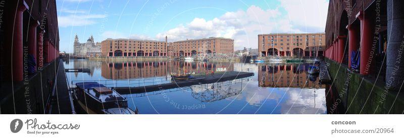 Sunny Liverpool (Panorama) Sonne Europa Hafen England Dock Großbritannien Reflexion & Spiegelung Wasserspiegelung
