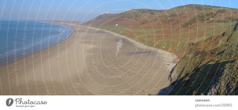 Frühling in Wales (Panorama) Großbritannien Strand Meer Klippe Einsamkeit Rhossili blau Bucht Sonne Felsen frühlingshaft unberühert frei
