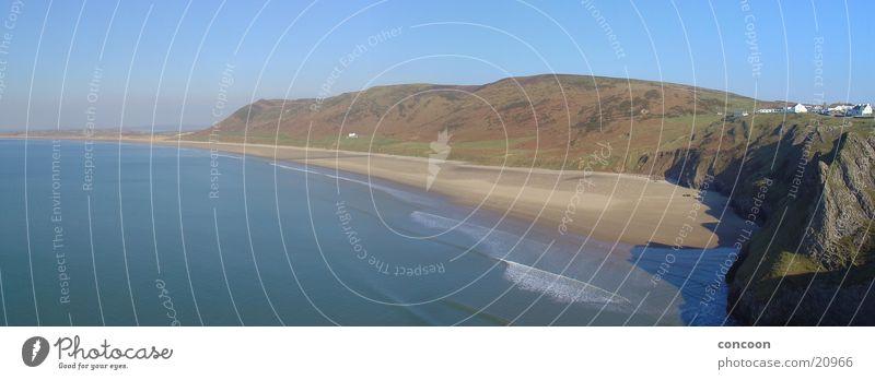 Rhossili Bay (Panorama) Natur Meer Strand Berge u. Gebirge Küste Europa Großbritannien Wales Halbinsel Gower