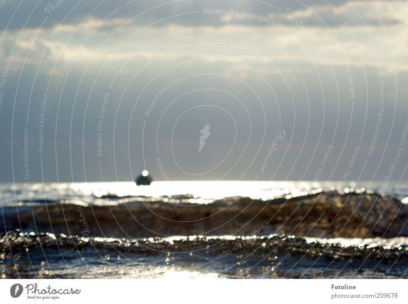 Urlaub Umwelt Natur Landschaft Urelemente Wasser Sommer Wellen Küste Ostsee Meer nass natürlich Farbfoto mehrfarbig Außenaufnahme Textfreiraum oben Tag Abend