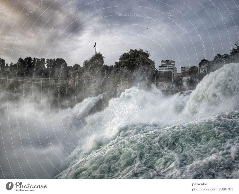tempo | nicht r(h)einfallen! Tourismus Ausflug Sightseeing Natur Landschaft Urelemente Wasser Baum Fluss Wasserfall Haus Stein authentisch außergewöhnlich