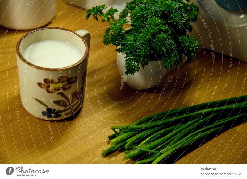 Frisch aus dem Garten grün ruhig Ernährung Gesundheit frisch ästhetisch natürlich Kräuter & Gewürze Tasse Stillleben Idee Milch Diät Schneidebrett Bioprodukte