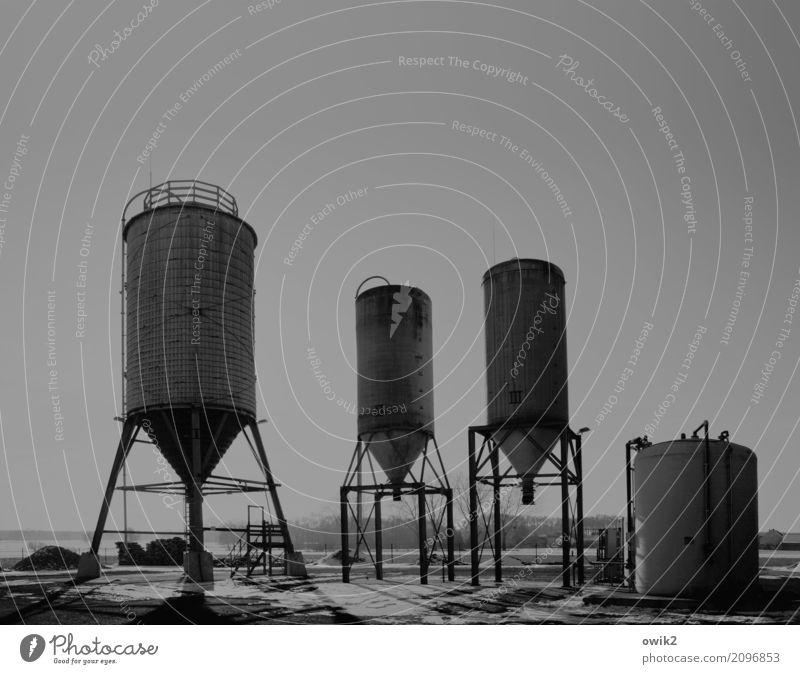Zeitmaschine Arbeit & Erwerbstätigkeit Arbeitsplatz Silo Technik & Technologie Abfüllanlage Winterdienst Streusalz Streusalzsilos 3 Trichter Umwelt Gerüst