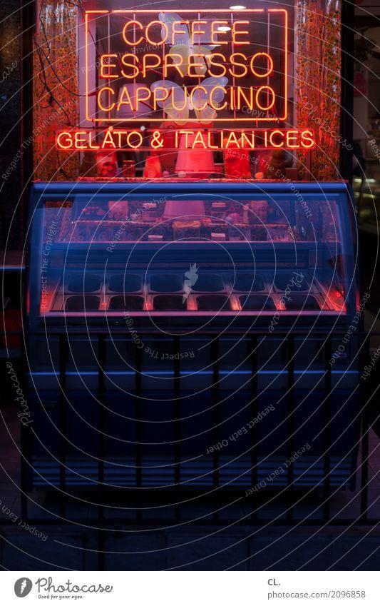 gelato Ferien & Urlaub & Reisen blau rot dunkel schwarz Lebensmittel Ernährung Schriftzeichen Schilder & Markierungen Speiseeis geschlossen Getränk Kaffee