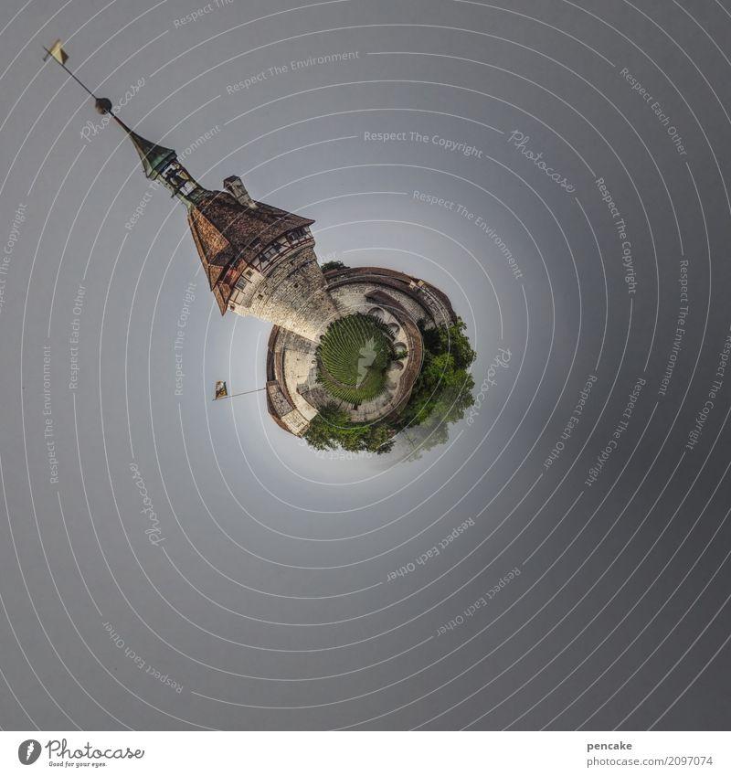 kleine rundreise Natur Landschaft Burg oder Schloss retro wehrhaft Turm Schaffhausen Munot Schweiz little world Planet kugelrund Erde Biegung Mittelpunkt Kugel