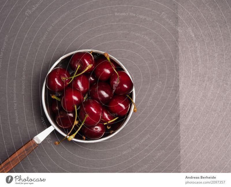 Süße Kirschen Sommer Frucht süß lecker Ernte Schalen & Schüsseln Schiefer