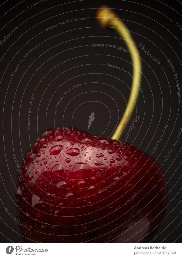 Kirsche rot Gesundheit Frucht frisch Wassertropfen nass lecker Bioprodukte Vegetarische Ernährung vitaminreich