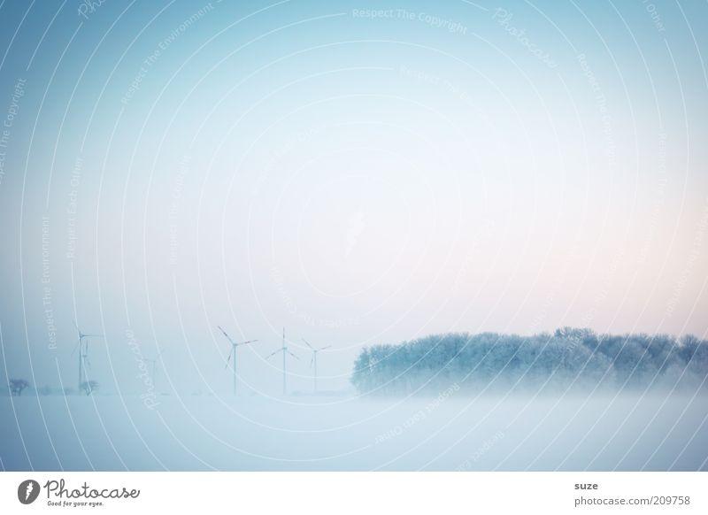 Land in Sicht Windkraftanlage Industrie Umwelt Natur Landschaft Urelemente Luft Himmel Wolkenloser Himmel Horizont Winter Klima schlechtes Wetter Nebel Eis