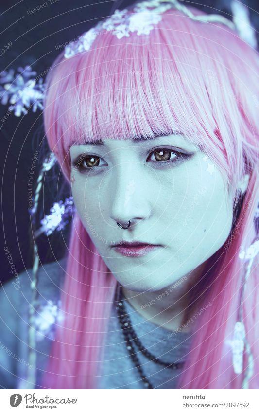 Mensch Jugendliche Junge Frau schön 18-30 Jahre schwarz Gesicht Erwachsene feminin Stil grau rosa modern Haut einzigartig niedlich