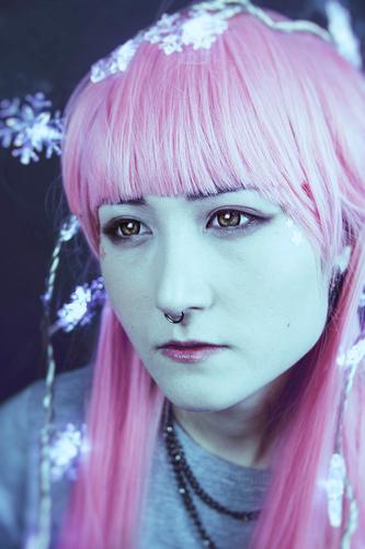 Schöne und alternative japanische Frau Stil exotisch schön Haut Gesicht Mensch feminin Junge Frau Jugendliche 1 18-30 Jahre Erwachsene Piercing Perücke